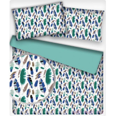Tkanina bawełniana wzór niebiesko-miętowe pióra na białym tle