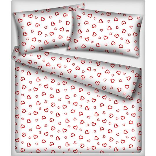 Tkanina bawełniana Czerwone serca na białym tle