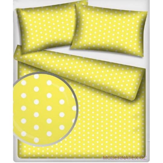 Tkanina bawełniana Białe groszki 22 mm na żółtym tle