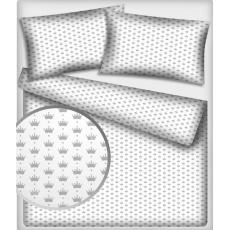 Tkanina bawełniana wzór szare korony na białym tle