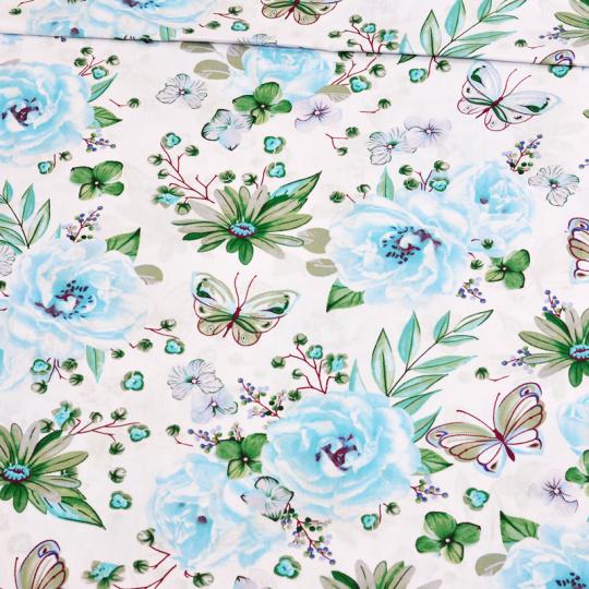 Tkanina bawełniana wzór duże niebieskie kwiaty na białym tle