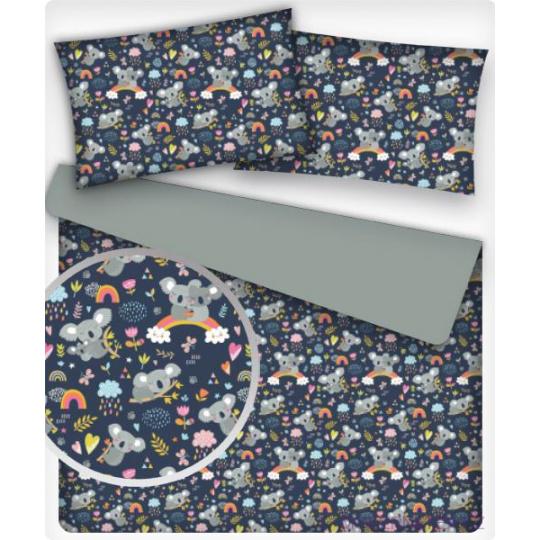 Tkanina bawełniana wzór pandy na tęczy na granatowym tle