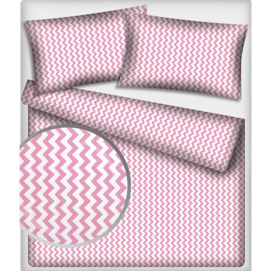 Tkanina bawełniana wzór różowo-białe zygzaki