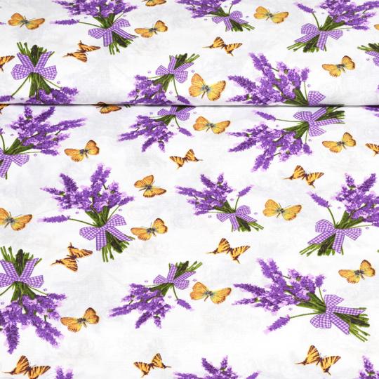 Tkanina bawełniana wzór bukiety lawendy z motylami