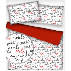 Tkanina bawełniana wzór SMILE na białym tle