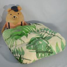 Poduszka siedziska wzór dżungli na białym tle, 38x38x4 cm