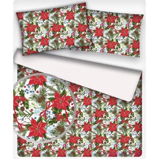Tkanina bawełniana świąteczna czerwone kwiaty na białym tle
