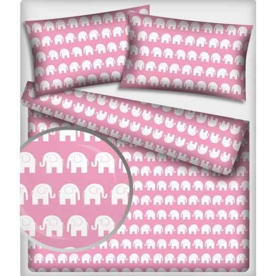 Tkanina bawełniana wzór białe słonie na różowym tle