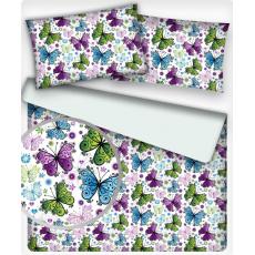 Tkanina bawełniana wzór letnie motyle na białym tle