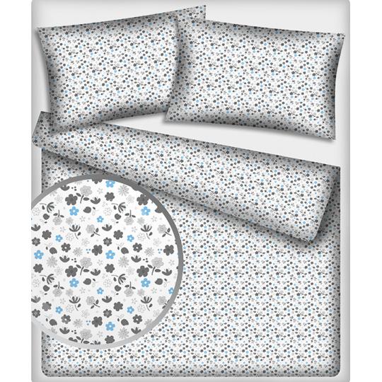 Tkanina bawełniana wzór niebieskie kwiaty na białym tle