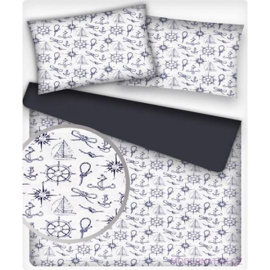 Tkanina bawełniana wzory morskie dla dzieci szare na białym