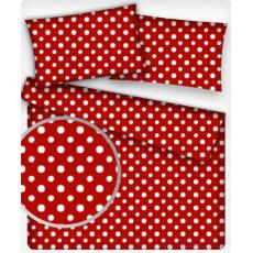 Tkanina bawełniana Białe groszki 7 mm na czerwonym tle
