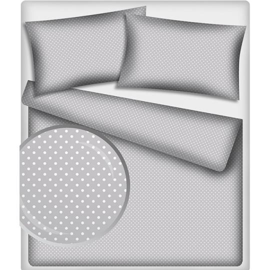 Tkanina bawełniana Białe groszki 7 mm na szarym tle