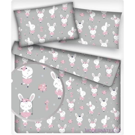 Tkanina bawełniana wzór biały króliczek w różowej sukience na szarym tle