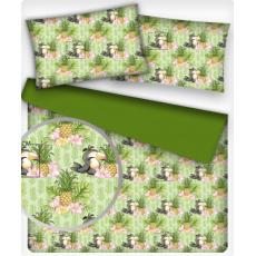 Tkanina bawełniana wzór papuga z ananasem na zielonym tle