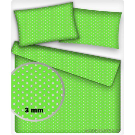 Tkanina bawełniana Białe groszki 3 mm na jasnozielonym tle