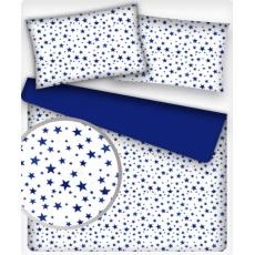 Tkanina bawełniana wzór gwiazdy granat na białym tle