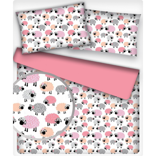 Tkanina bawełniana wzór owieczki różowe na białym tle