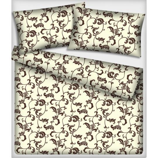 Tkanina bawełniana brązowy orientalny wzór na beżowym tle