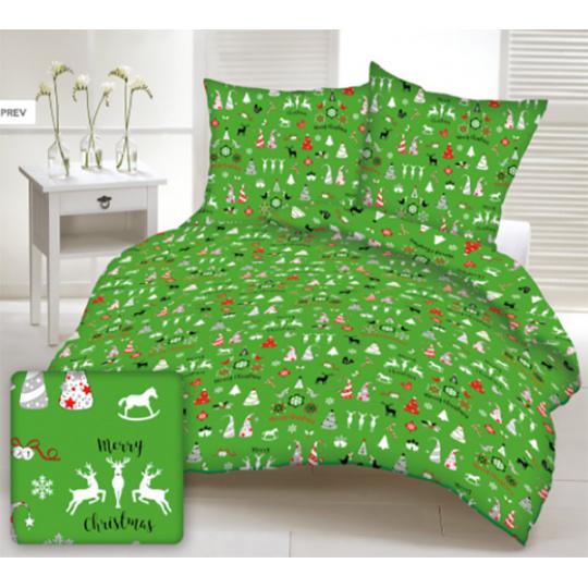 Tkanina bawełniana wzór świąteczny na zielonym tle