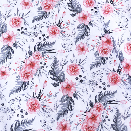 Tkanina bawełniana wzór czerwone kwiatki