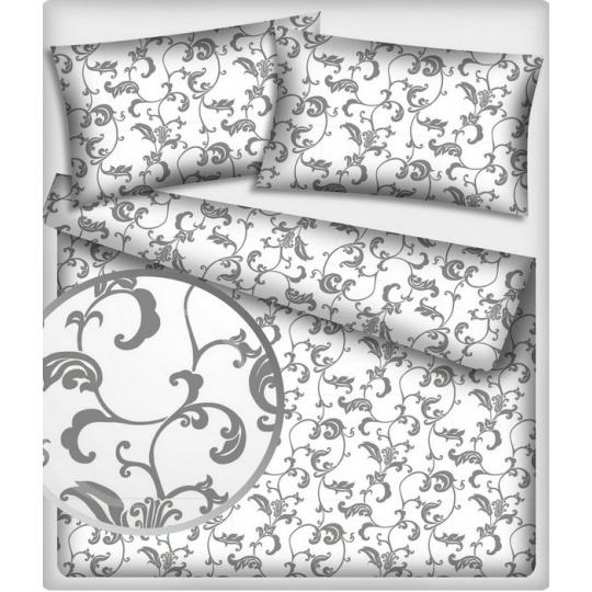 Tkanina bawełniana wzór szary orientalny na bialym tle