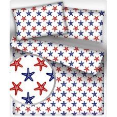 Tkanina bawełniana wzór granatowe i czerwone rozgwiazdy
