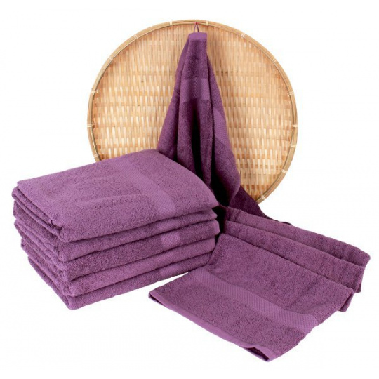 Fioletowy ręcznik frotte Darsi - 50x100 cm