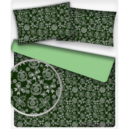 Tkanina bawełniana wzór białe bombki na zielonym tle