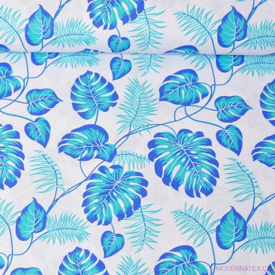 Tkanina bawełniana wzór niebieskie liście palmowe