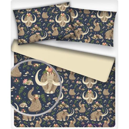 Tkanina bawełniana wzór mamuty na granatowym tle