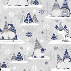 Świąteczna tkanina bawełniana wzór szaro-niebieskie Skrzaty