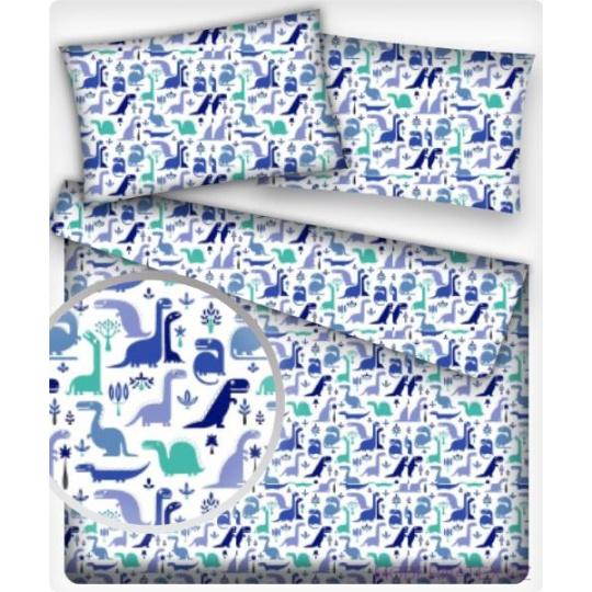 Tkanina bawełniana wzór miętowe i niebieskie dinozaury na białym tle