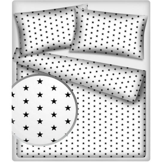 Tkanina bawełniana małe czarne gwiazdy na białym tle