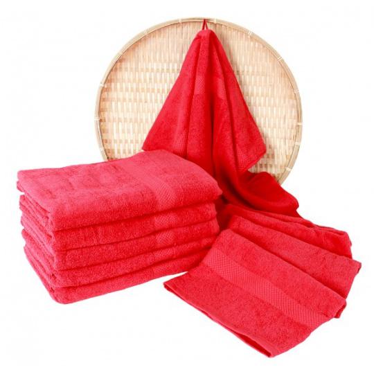 Czerwony ręcznik frotte Darsi - 50x100 cm