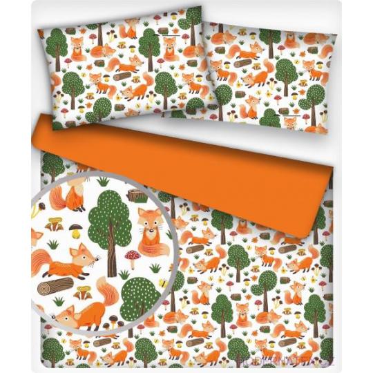 Tkanina bawełniana wzór pomarańczowe lisy i Drzewa