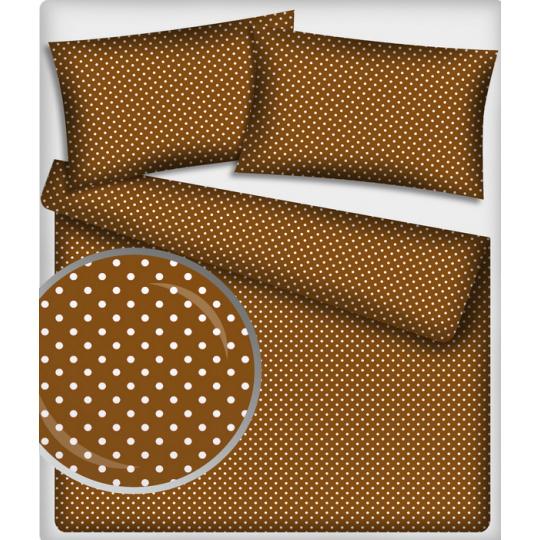 Tkanina bawełniana Białe groszki 2 mm na brązowym tle