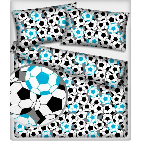 Tkanina bawełniana wzór niebieskie piłki piłkarskie
