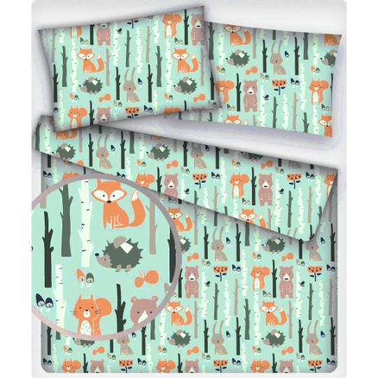 Tkanina bawełniana wzór zwierzęta leśne na mentolowym tle