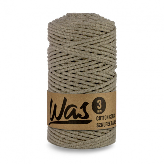 Sznurek bawełniany 3mm, 100m Ciemny beżowy