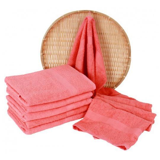 Koralowy ręcznik frotte Darsi - 50x100 cm