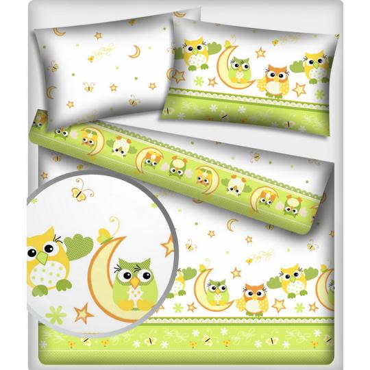 Tkanina bawełniana wzór zielone sowy
