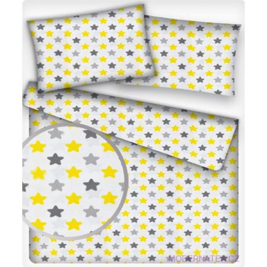 Tkanina bawełniana żółto szare gwiazdy na białym tle