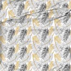 Tkanina bawełniana wzór Liście 1343 na białym tle