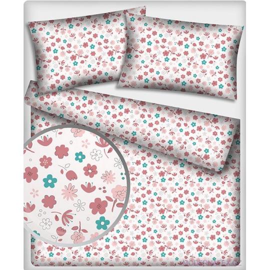 Tkanina bawełniana ze wzorem nowoczesnych różowych kwiatów na białym tle