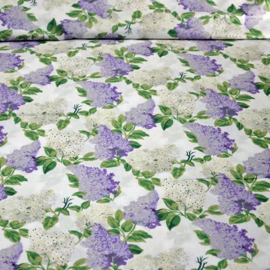 Tkanina bawełniana ze wzorem bzu na białym tle