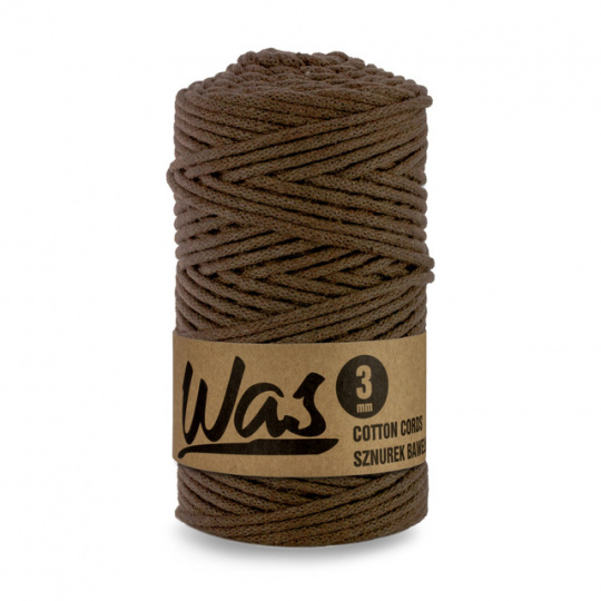 Sznurek bawełniany 3mm, 100m Brązowy