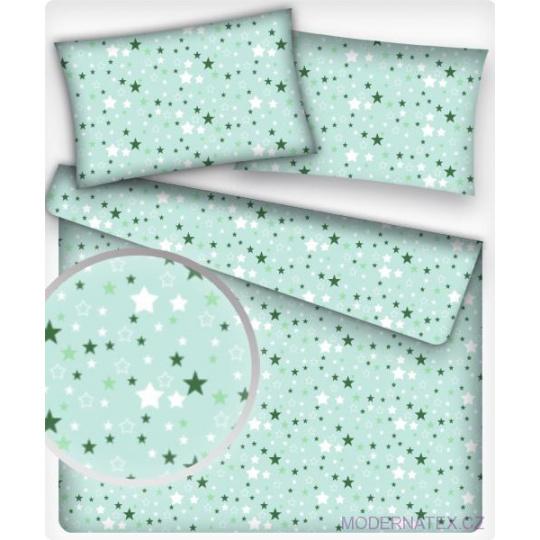 Tkanina bawełniana Zielone gwiazdy na mentolowym tle