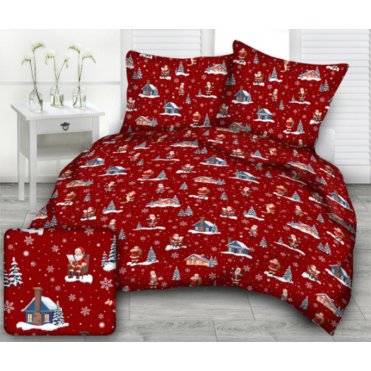 Tkanina bawełniana wzór Święty Mikołaj przy domu na czerwonym tle