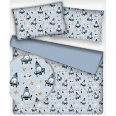 Tkanina bawełniana dla dzieci wzór Rakieta 677 na j.niebieskim tle
